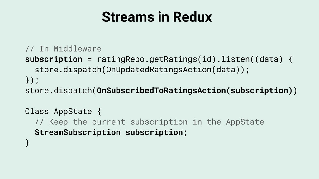 Streams in Redux // In Middleware subscription ...