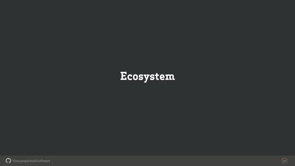 How people build software ! Ecosystem 50