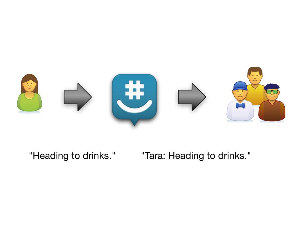 """Heading to drinks."" ""Tara: Heading to drinks."""