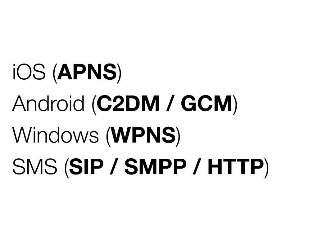 iOS (APNS) Android (C2DM / GCM) Windows (WPNS) ...