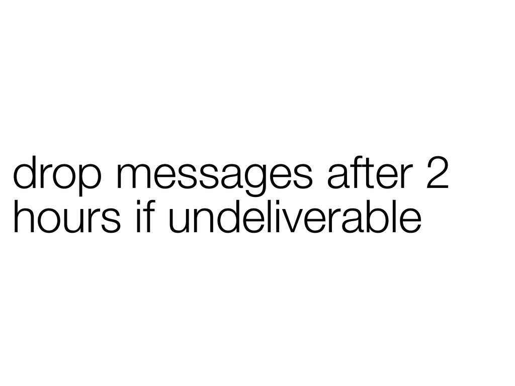 drop messages after 2 hours if undeliverable