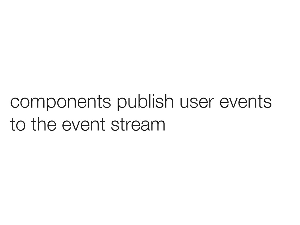 components publish user events to the event str...