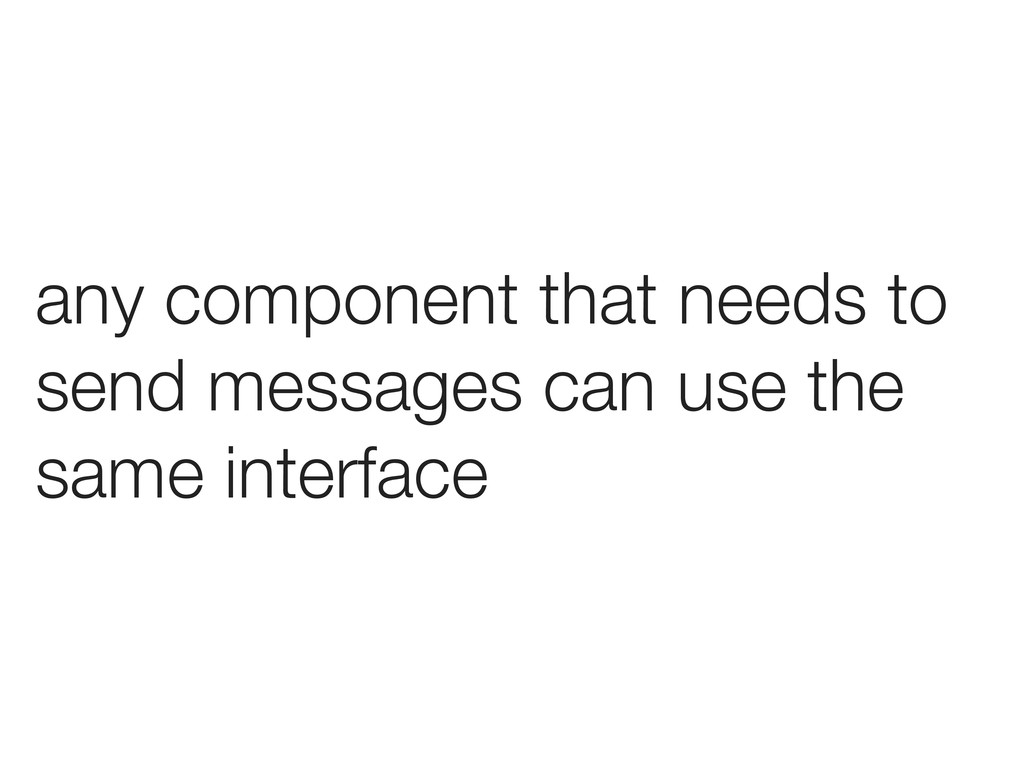 any component that needs to send messages can u...