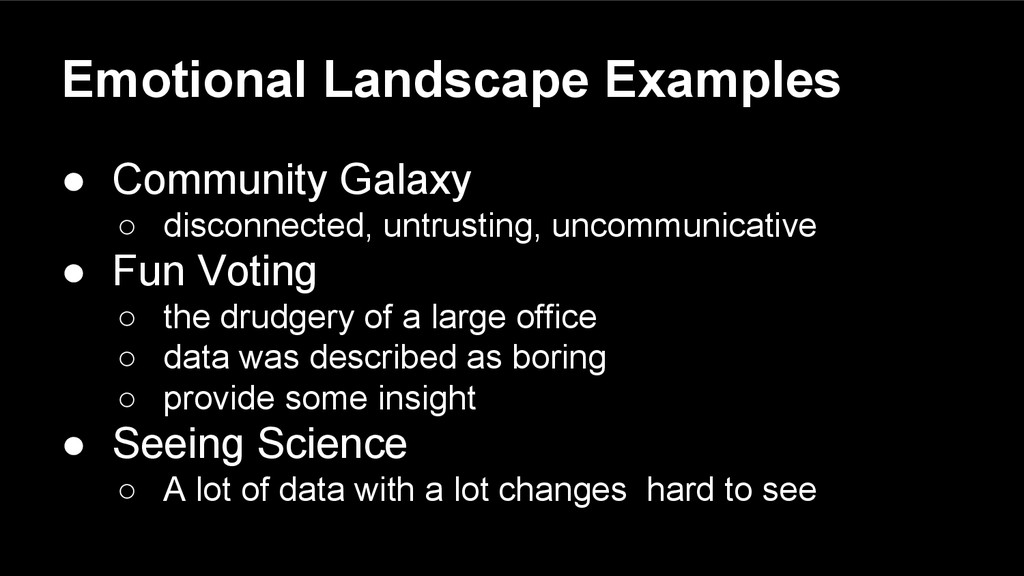 Emotional Landscape Examples ● Community Galaxy...