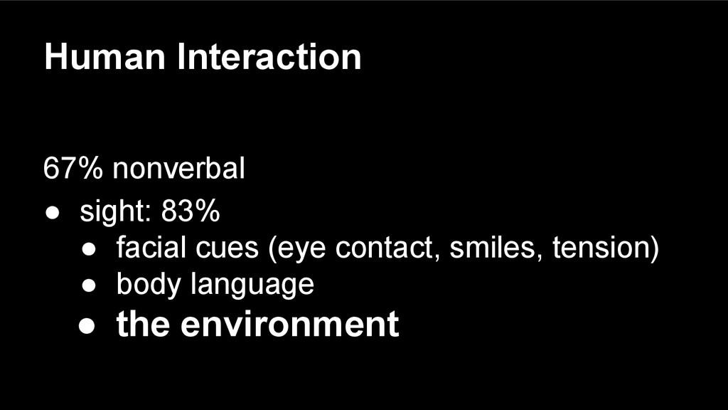 Human Interaction 67% nonverbal ● sight: 83% ● ...