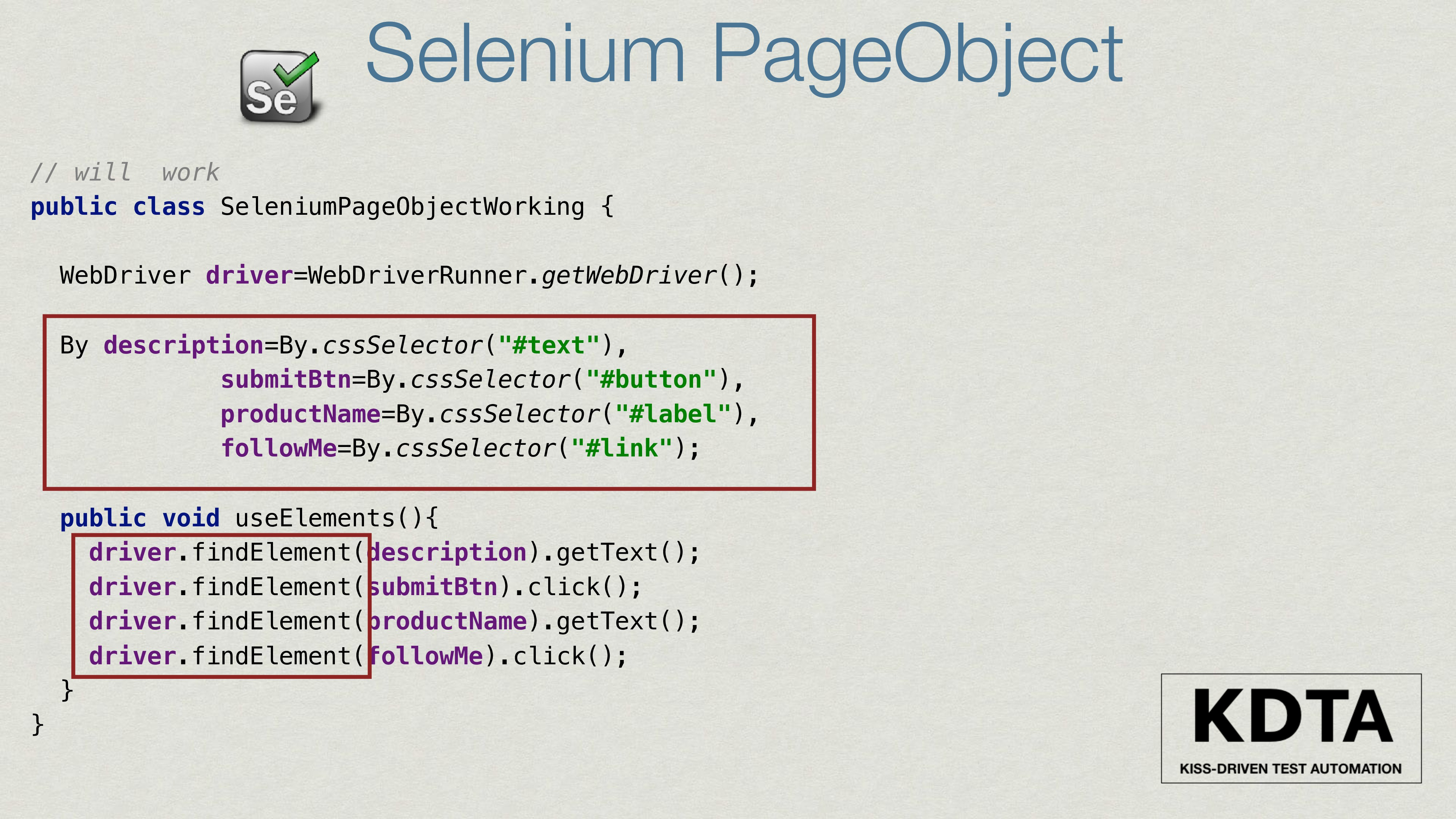 Selenium PageObject // will work public class S...