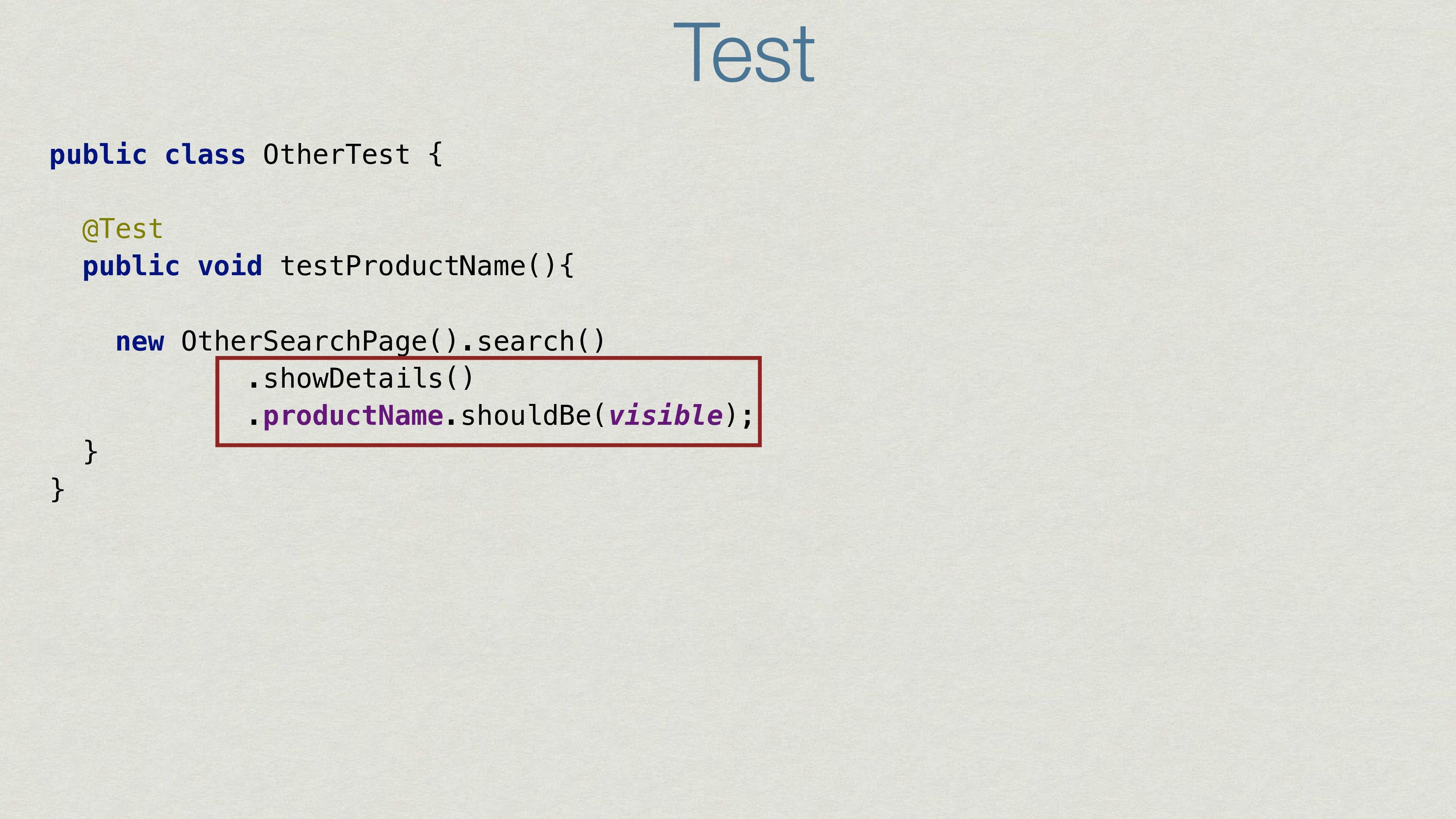Test public class OtherTest { @Test public void...