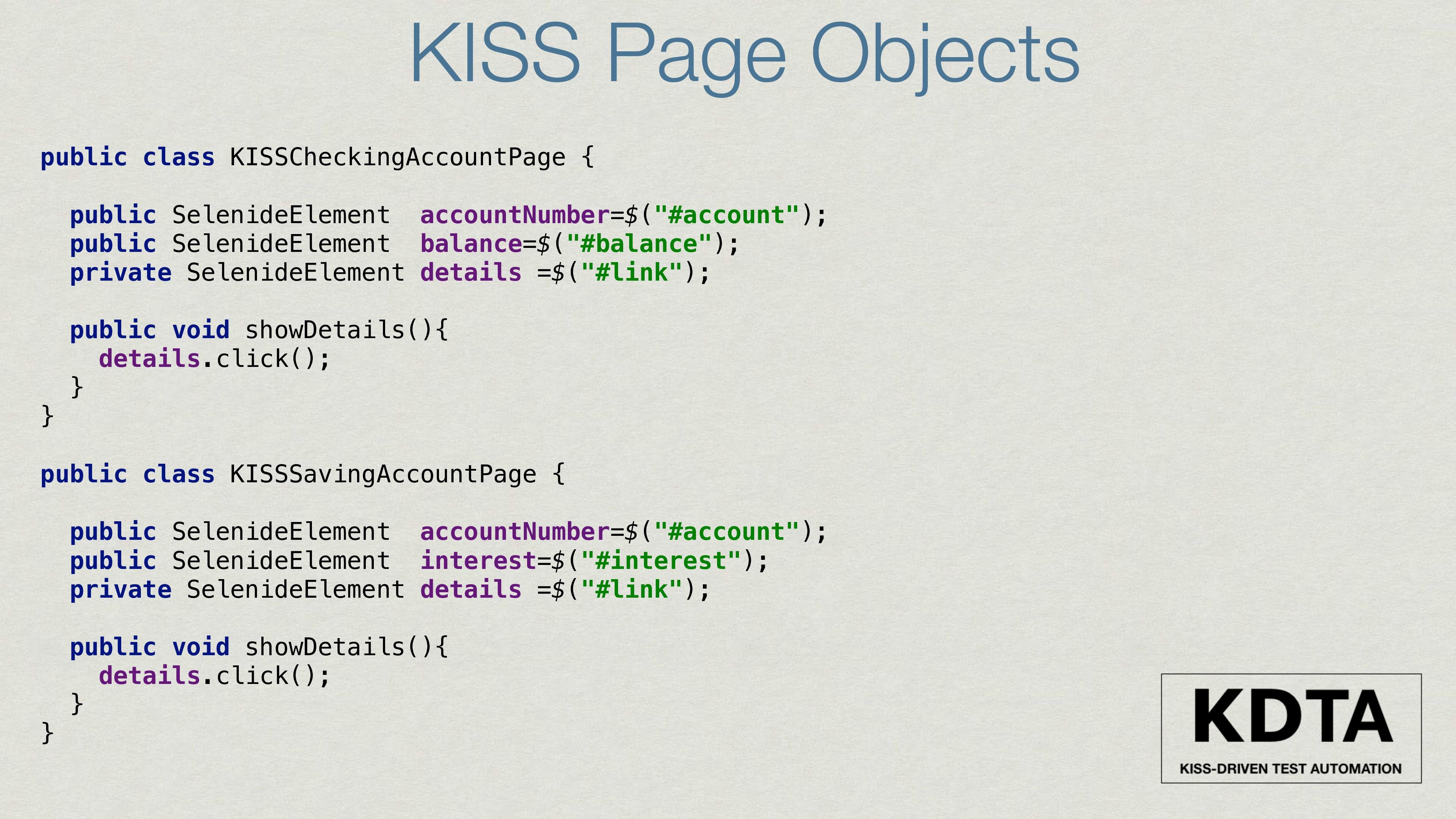 public class KISSCheckingAccountPage { public S...
