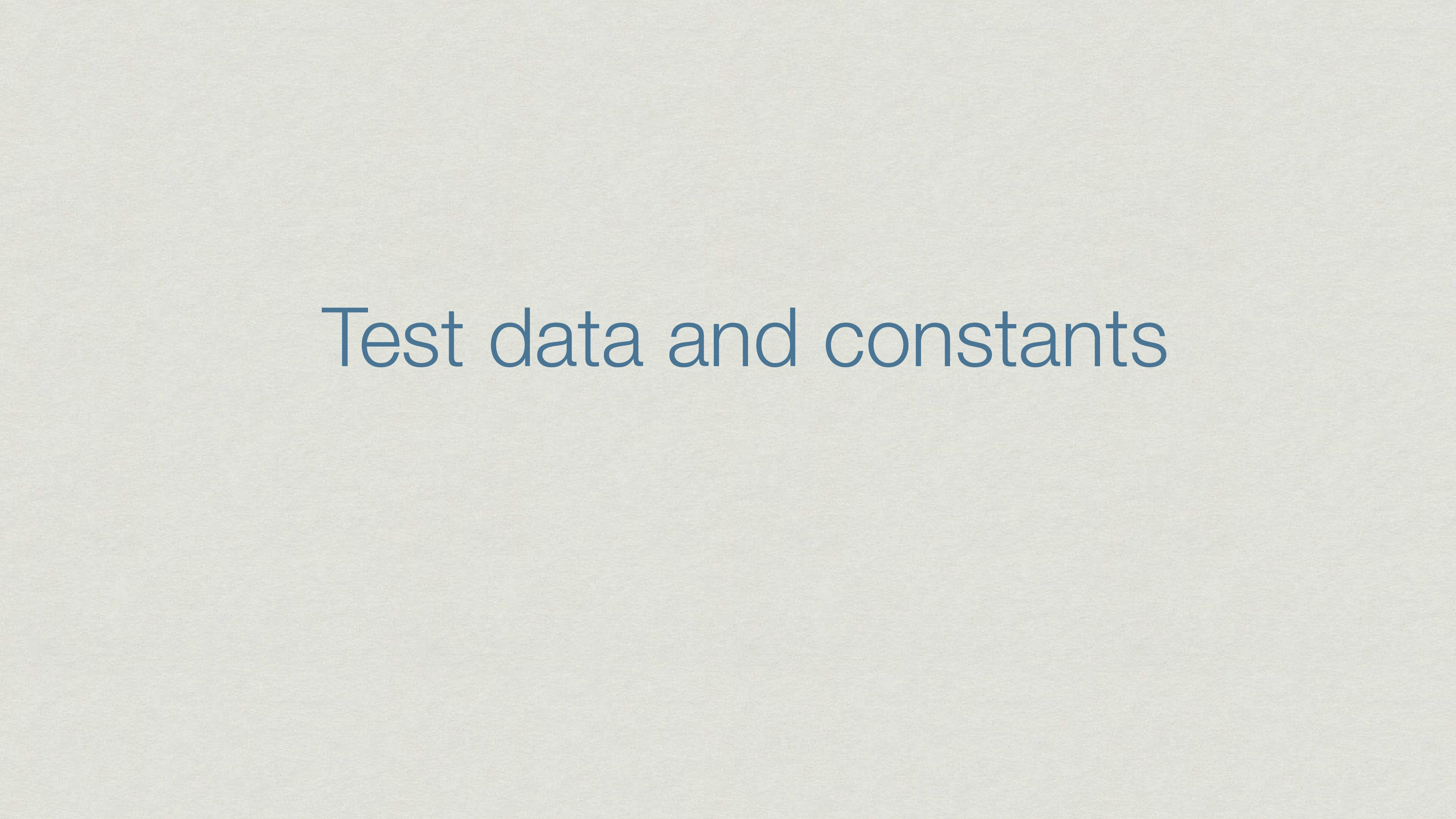 Test data and constants