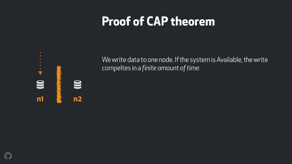 Proof of CAP theorem We write data to one node....