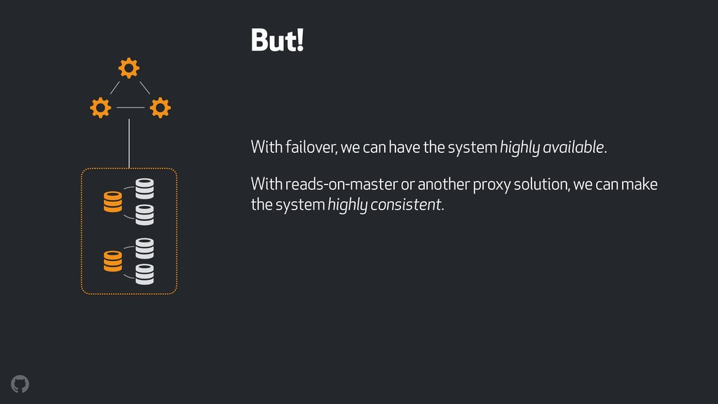 But! With failover, we can have the system high...