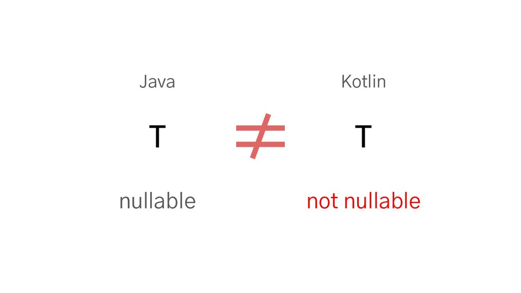 Java Kotlin T T nullable not nullable