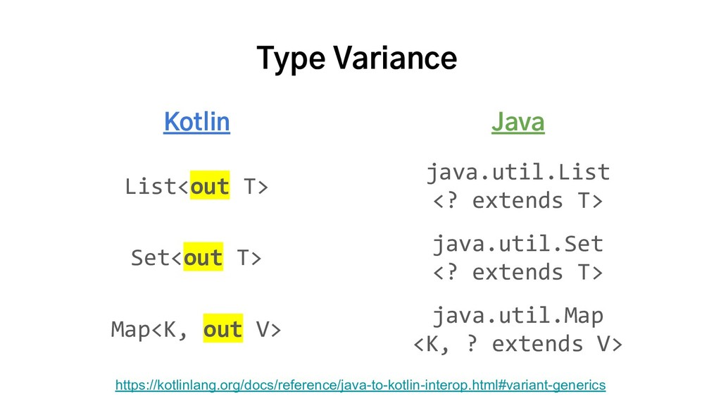 Type Variance Kotlin Java List<out T> java.util...