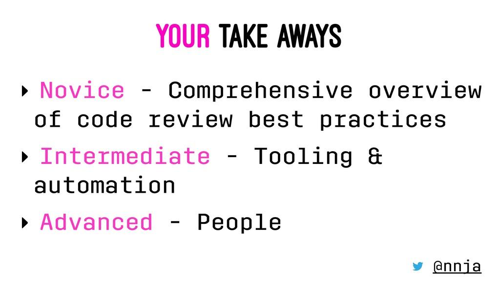 YOUR TAKE AWAYS ‣ Novice - Comprehensive overvi...