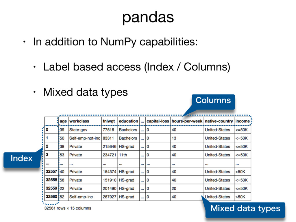 pandas • In addition to NumPy capabilities:  • ...