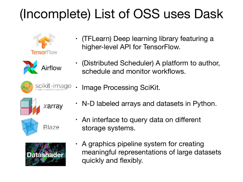 (Incomplete) List of OSS uses Dask • (TFLearn) ...