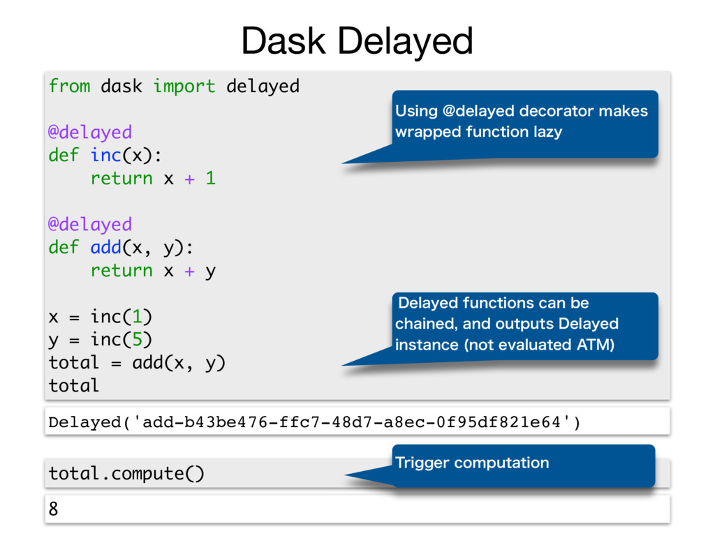 Dask Delayed from dask import delayed @delayed ...