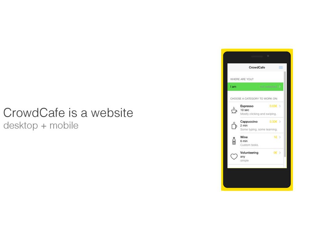 CrowdCafe is a website ! desktop + mobile!