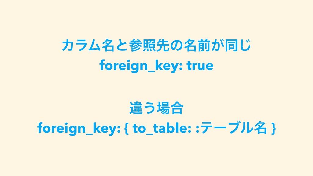 ΧϥϜ໊ͱরઌͷ໊લ͕ಉ͡ foreign_key: true ҧ͏߹ foreign_k...