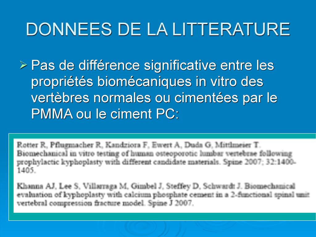 DONNEES DE LA LITTERATURE  Pas de différence s...