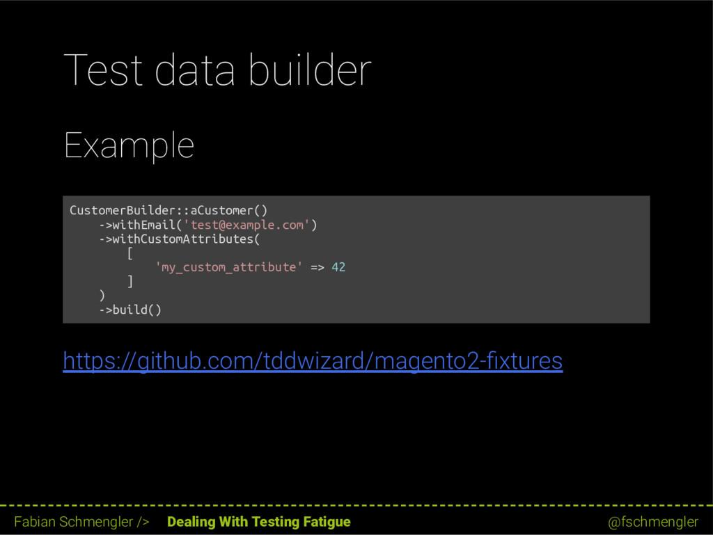 Test data builder Example CustomerBuilder::aCus...