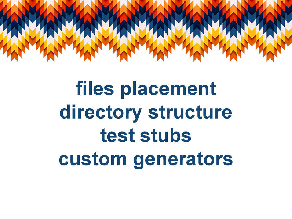 files placement directory structure test stubs ...