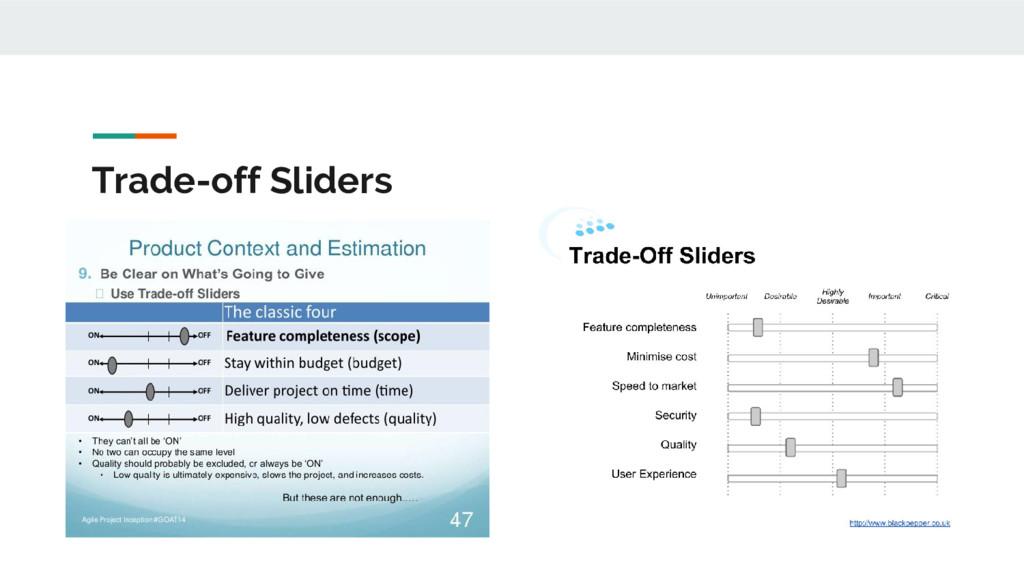 Trade-off Sliders