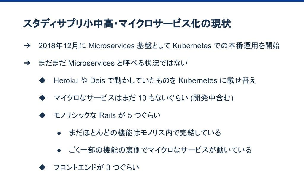 スタディサプリ小中高・マイクロサービス化の現状 ➔ 2018年12月に Microservic...
