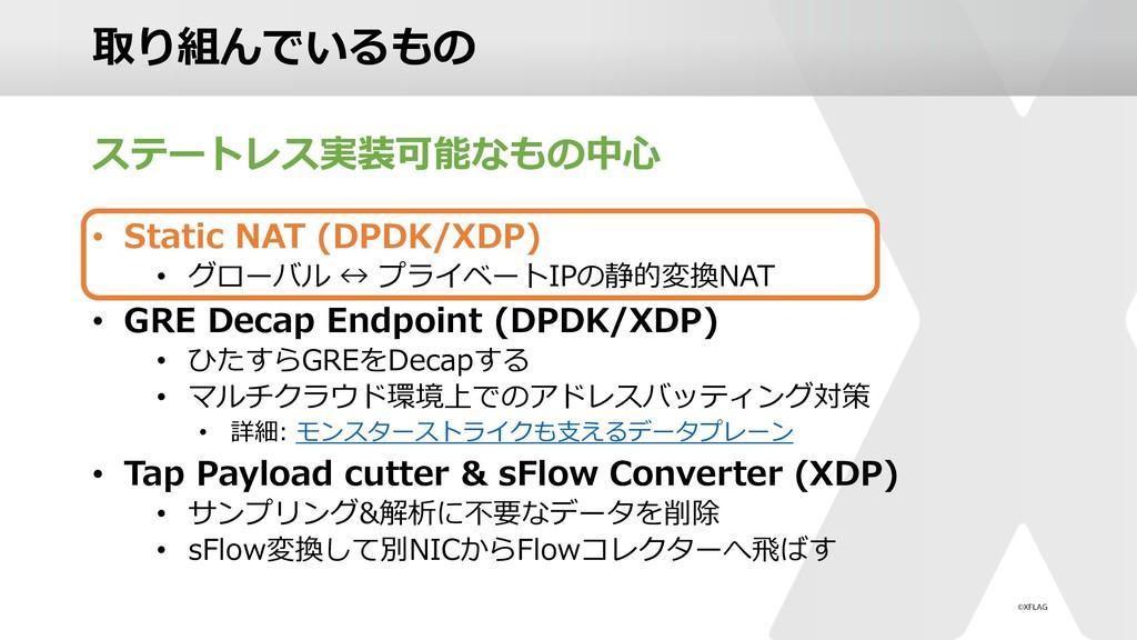 取り組んでいるもの ステートレス実装可能なもの中⼼ • Static NAT (DPDK/XD...