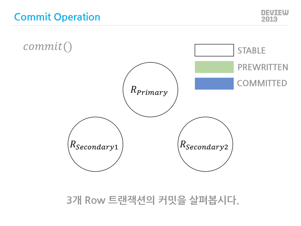 3개 Row 트랜잭션의 커밋을 살펴봅시다.  1 2 PREWRITTEN COMMITT...