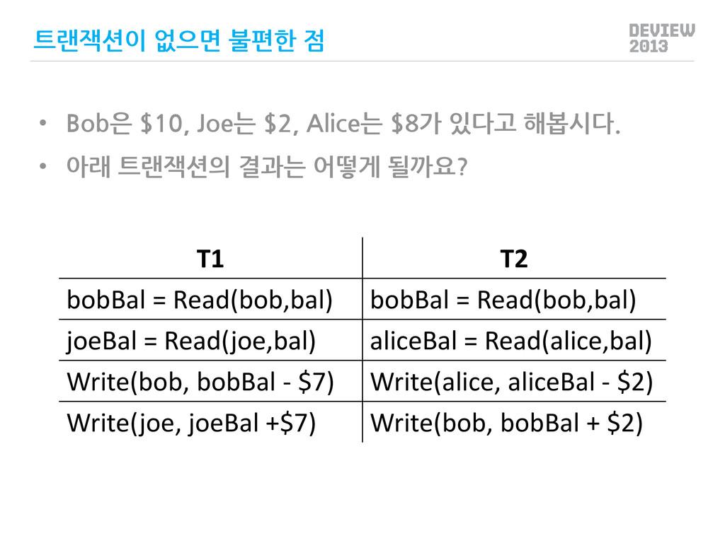 T1 T2 bobBal = Read(bob,bal) bobBal = Read(bob,...