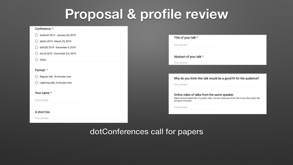 Proposal & profile review dotConferences call fo...