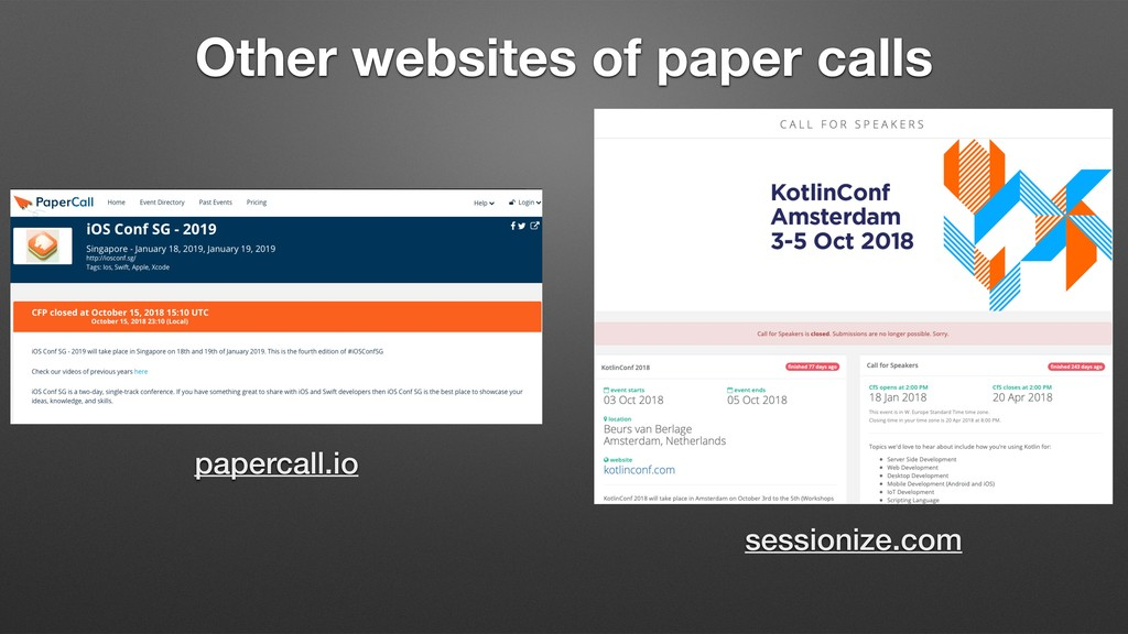 Other websites of paper calls papercall.io sess...