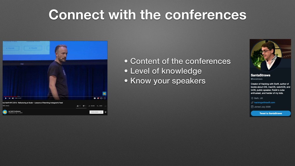 Connect with the conferences • Content of the c...