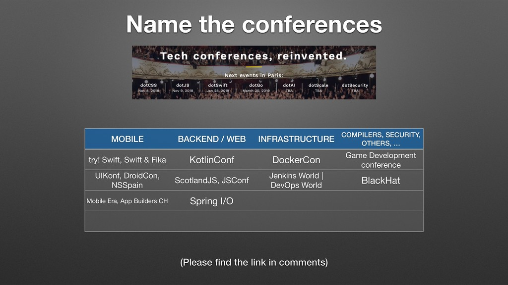 Name the conferences MOBILE BACKEND / WEB INFRA...