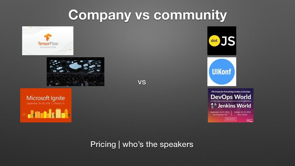 Company vs community vs Pricing   who's the spe...