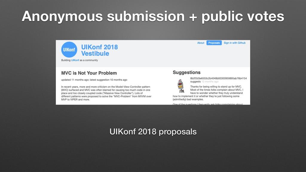 Anonymous submission + public votes UIKonf 2018...