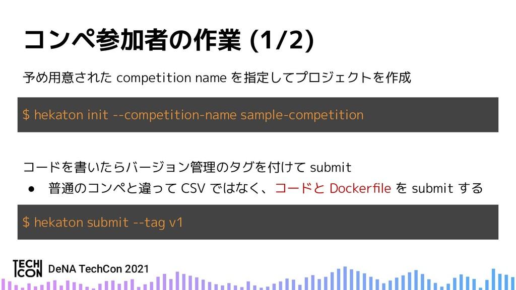 予め用意された competition name を指定してプロジェクトを作成 $ hekat...