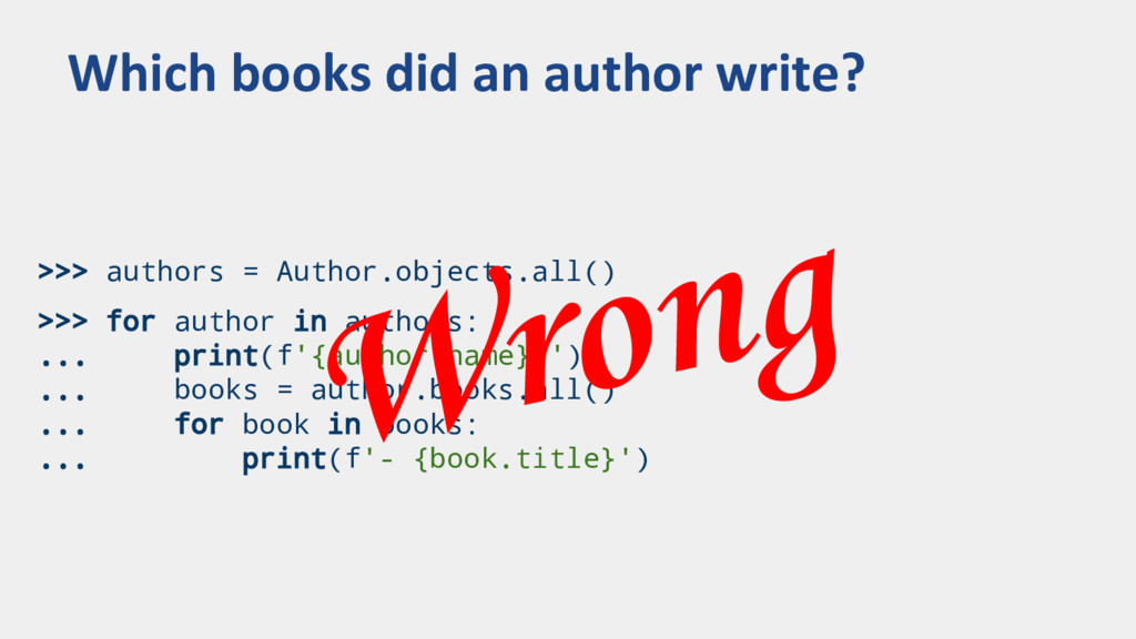 >>> authors = Author.objects.all() >>> for auth...