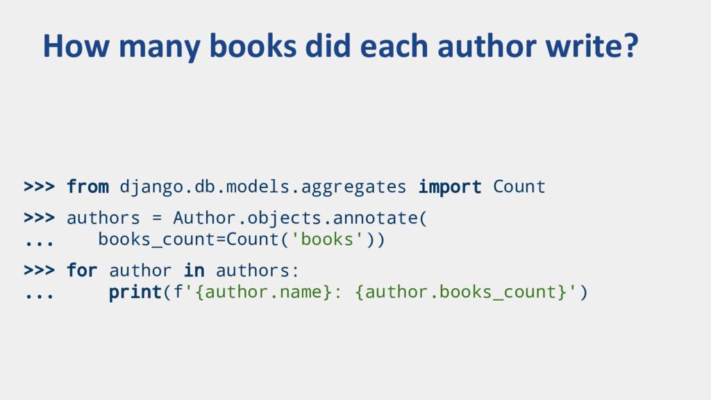 >>> from django.db.models.aggregates import Cou...