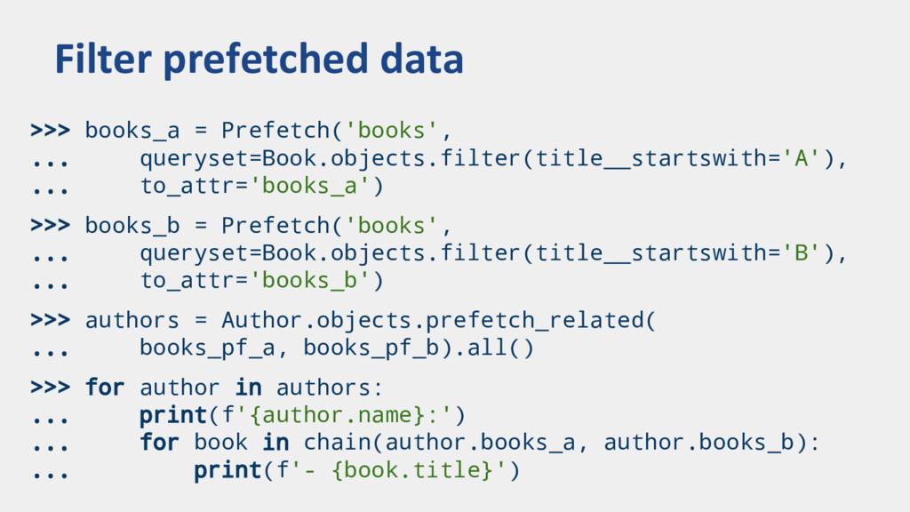 >>> books_a = Prefetch('books', ... queryset=Bo...
