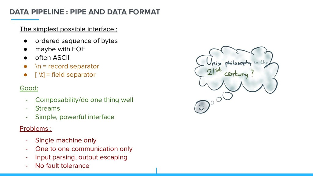 DATA PIPELINE : PIPE AND DATA FORMAT Good: - Co...