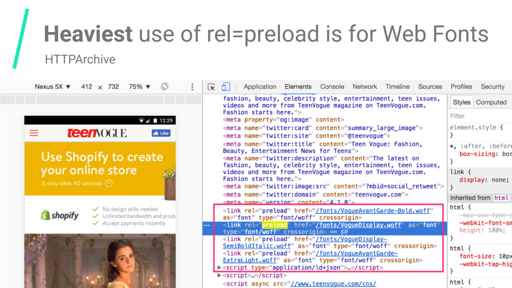 Heaviest use of rel=preload is for Web Fonts HT...