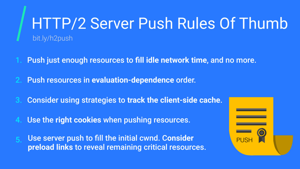 HTTP/2 Server Push Rules Of Thumb Push just eno...