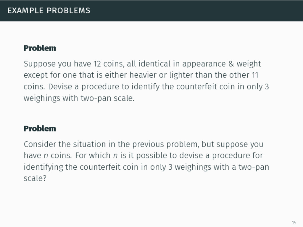 example problems Problem Suppose you have 12 co...