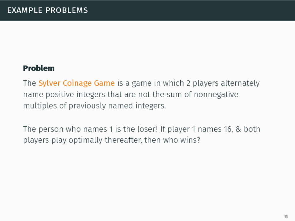 example problems Problem The Sylver Coinage Gam...