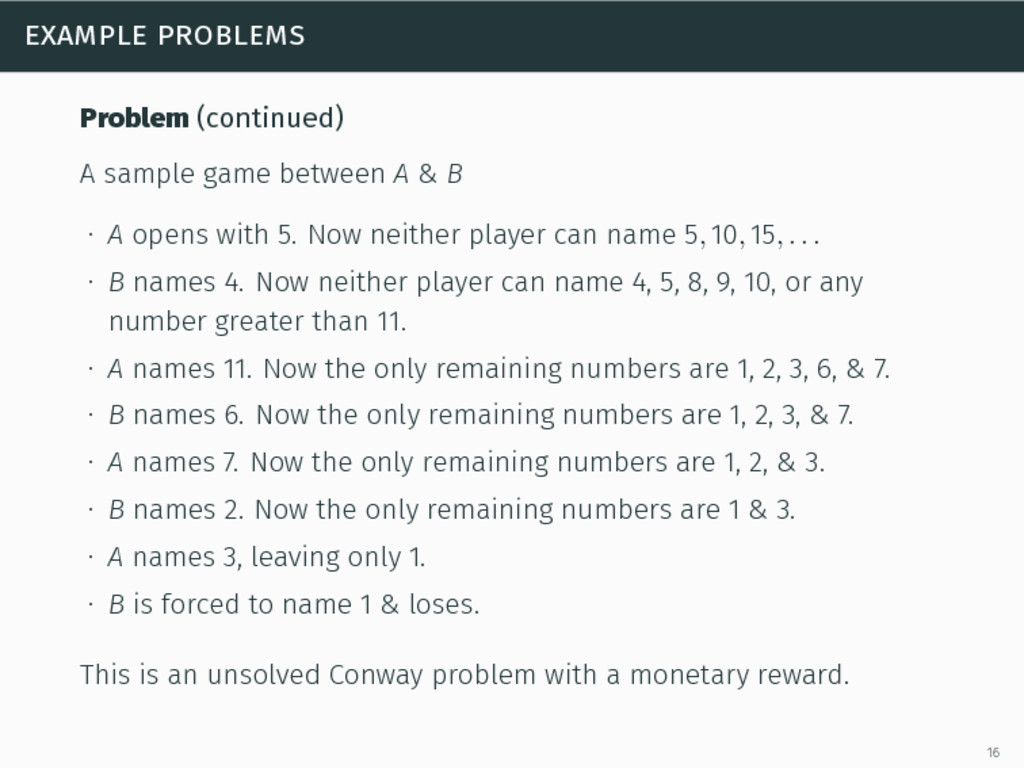 example problems Problem (continued) A sample g...