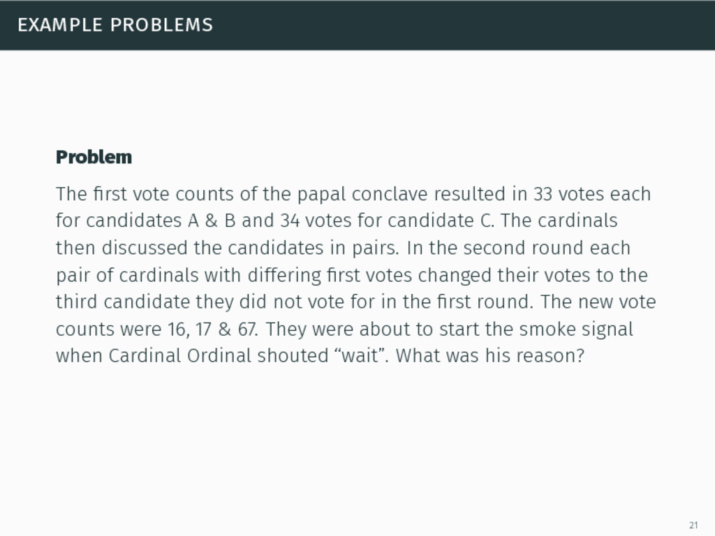 example problems Problem The first vote counts o...