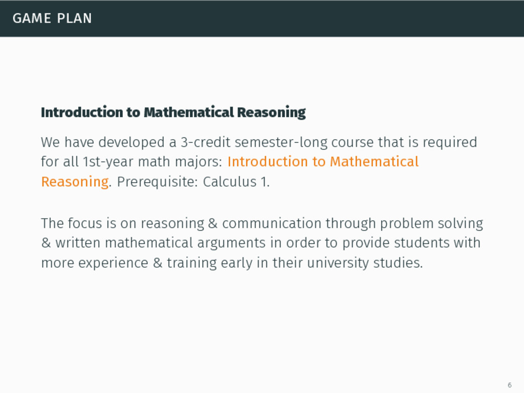 game plan Introduction to Mathematical Reasonin...
