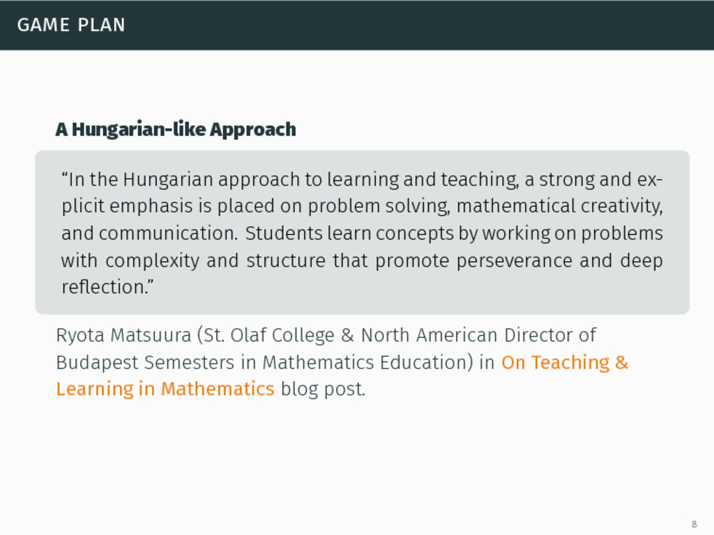 """game plan A Hungarian-like Approach """"In the Hun..."""